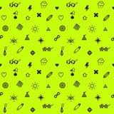 Sömlös vektormodell för översvallande beröm, för punkrock och för glam symboler i svart och gul grön färg för neon vektor illustrationer