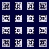Sömlös vektormodell för abstrakt indigoblå shibori med ikattrycket av mosaiken arkivfoton