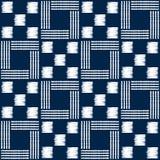 Sömlös vektormodell för abstrakt indigoblå shibori med mosaiken Arkivfoto