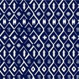 Sömlös vektormodell för abstrakt indigoblå shibori med mosaiken Arkivbild