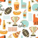 Sömlös vektormodell för amerikansk fotboll Hjälmen trofén, öl, skumfingret, snabbmat, går och trycker på ner bokstäver Tappning royaltyfri illustrationer
