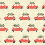 Sömlös vektormodell för jul med det röda bil- och julträdet på taket Tappningferiebakgrund med retro bilar och royaltyfri illustrationer