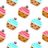 Sömlös vektormodell för muffin stock illustrationer