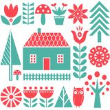 Sömlös vektormodell för skandinavisk folkkonst med blommor, träd, champinjoner, ugglan, hus och lantligt landskap i enkelt Fotografering för Bildbyråer