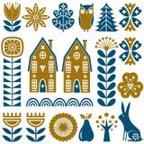 Sömlös vektormodell för skandinavisk folkkonst med blommor, träd, kanin, ugglan, hus och lantligt landskap i enkel stil Arkivfoto