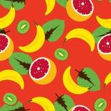 Sömlös vektormodell för tropisk frukt Arkivfoton