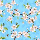 Sömlös vektormodell från filialerna av ett blommande äppleträd för vår med rosa blommor, sidor och bin vektor illustrationer