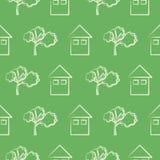 Sömlös vektormodell, grön bakgrund med hus och träd Royaltyfria Bilder