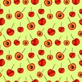 Sömlös vektormodell, kaotisk bakgrund för ljusa frukter med körsbäret Royaltyfria Bilder