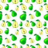 Sömlös vektormodell, kaotisk bakgrund för ljusa frukter med päron Fotografering för Bildbyråer