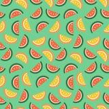 Sömlös vektormodell, ljus kaotisk bakgrund för frukter med vattenmelon Royaltyfria Foton