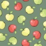 Sömlös vektormodell med äpplen Arkivfoto