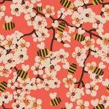 Sömlös vektormodell med att blomma trädfilialer och bin vektor illustrationer