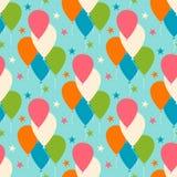 Sömlös vektormodell med ballonger Royaltyfria Bilder
