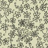 Sömlös vektormodell med blommaklotter stock illustrationer
