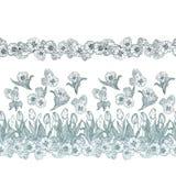 Sömlös vektormodell med blommor i horisontallinjer royaltyfri illustrationer