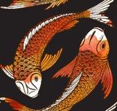 Sömlös vektormodell med den hand drog Koi fisken Arkivbilder