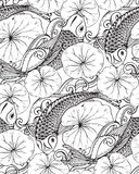 Sömlös vektormodell med den hand drog Koi fisken, lotusblommasidor Arkivfoto