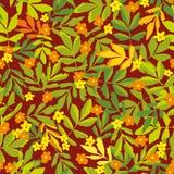 Sömlös vektormodell med förenklade orange och gula blommor och gröna och gula sidor stock illustrationer