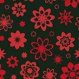 Sömlös vektormodell med förenklade rosaaktiga röda blommaformer royaltyfri illustrationer