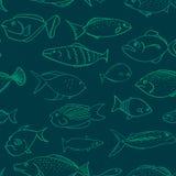 Sömlös vektormodell med fiskar som har olika ansiktsuttryck vektor illustrationer