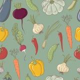 sömlös vektormodell med grönsaker Arkivbild