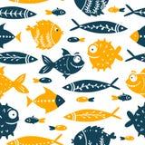 Sömlös vektormodell med gulliga fiskar Rolig fisk med stora ögon För modellpåfyllningar tapet, tryck för kläder, för stock illustrationer