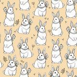 Sömlös vektormodell med gulliga kaniner mitt- höstfestival Påskkaniner vektor illustrationer