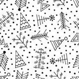 Sömlös vektormodell med julträdet och snöflingor vektor illustrationer