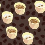 Sömlös vektormodell med koppar kaffe och cappuccino royaltyfri illustrationer