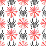 Sömlös vektormodell med kryp, symmetrisk bakgrund med dekorativa svarta closeupspindlar, över den vita bakgrunden med rött s Royaltyfri Foto