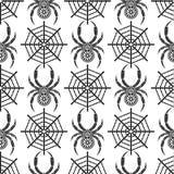 Sömlös vektormodell med kryp, symmetrisk bakgrund med dekorativa svarta closeupspindlar, över den vita bakgrunden med spide Arkivbilder