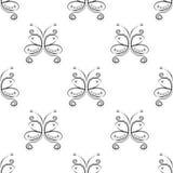Sömlös vektormodell med krypet Dekorativ symmetrisk svartvit dekorativ bakgrund med fjärilar och romben Arkivfoto