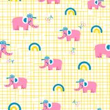 Sömlös vektormodell med rosa elefanter royaltyfri illustrationer