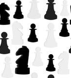 Sömlös vektormodell med schack på vit bakgrund vektor illustrationer