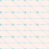 Sömlös vektormodell, rosa symmetrisk bakgrund med blåa hjärtor Arkivbilder