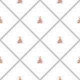 Sömlös vektormodell, symmetrisk bakgrund med gulliga ladubugs på den vita bakgrunden Arkivfoto