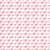 Sömlös vektormodell, symmetrisk bakgrund med rosa hjärtor Arkivfoton