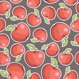 Sömlös vektortextur med äpplen Arkivbilder