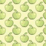Sömlös vektortextur med gröna äpplen Royaltyfri Bild