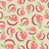 Sömlös vektortextur med röda äpplen Royaltyfria Bilder