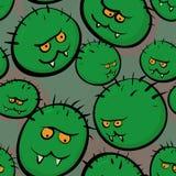 Sömlös vektortextur - stiliserade bilder av bakterier och viruse Arkivbild
