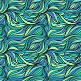 Sömlös vektortygmodell med linjer Abstrakt bakgrund för eco för havvågnatur Royaltyfri Foto