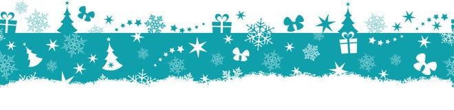 Sömlös vinter julgräns vektor illustrationer
