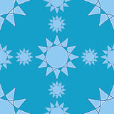 Sömlös vintermodell med stjärnabeståndsdelar på blå bakgrund vektor illustrationer