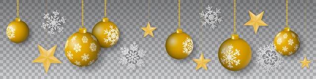 Sömlös vintervektor med att hänga guld- kulöra dekorerade julprydnader, stjärnor och snöflingor på genomskinlig bakgrund arkivfoton