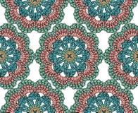 Sömlös virkningbakgrund mandala Arkivfoto