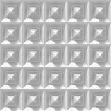Sömlös vit bakgrund som göras av en samling av pyramiden 3d, formar Royaltyfri Bild