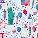 Sömlös vit modell för USA ferie Vektortryckbakgrund Amerikanska nationella symboler, berömsjälvständighetsdagen royaltyfri illustrationer