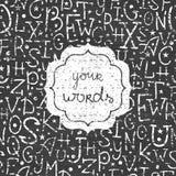 Sömlös vit ram för svart tavlaalfabetbokstäver Royaltyfri Bild